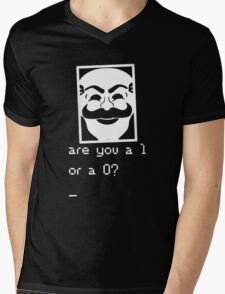 Are you a 1 or a 0? Mr. Robot - Fsociety (white) Mens V-Neck T-Shirt