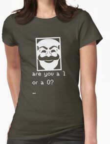 Are you a 1 or a 0? Mr. Robot - Fsociety (white) Womens Fitted T-Shirt
