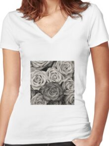 Shaded roses  Women's Fitted V-Neck T-Shirt
