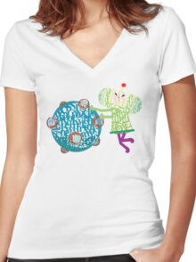 Prince Katamari Textography Women's Fitted V-Neck T-Shirt
