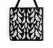 White on Black Modern Boho Tribal Graphic Feather Pattern Tote Bag