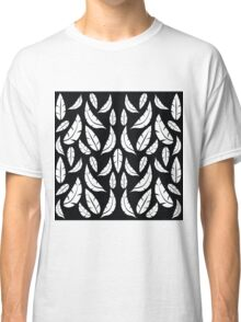 White on Black Modern Boho Tribal Graphic Feather Pattern Classic T-Shirt