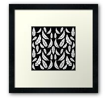 White on Black Modern Boho Tribal Graphic Feather Pattern Framed Print