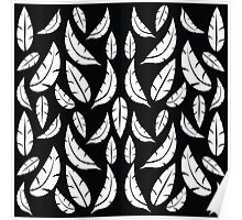 White on Black Modern Boho Tribal Graphic Feather Pattern Poster
