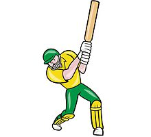 Cricket Player Batsman Batting Front Cartoon Isolated by patrimonio