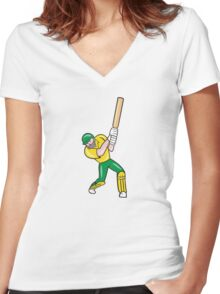 Cricket Player Batsman Batting Front Cartoon Isolated Women's Fitted V-Neck T-Shirt