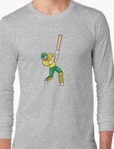 Cricket Player Batsman Batting Front Cartoon Isolated Long Sleeve T-Shirt