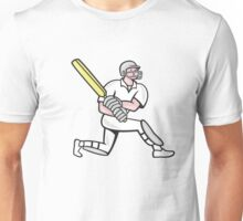 Cricket Player Batsman Batting Kneel Cartoon Unisex T-Shirt