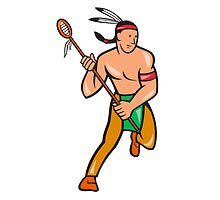 Native American Lacrosse Player Cartoon by patrimonio
