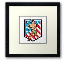 Native American Lacrosse Player Stars Stripes Shield Framed Print