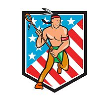 Native American Lacrosse Player Stars Stripes Shield Photographic Print
