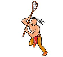 Native American Lacrosse Player Crosse Stick by patrimonio