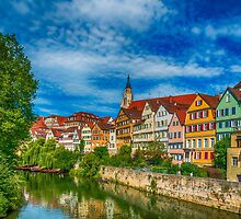 Tübingen - Picture Postcard View from the Neckar Bridge 3 by Mark Bangert