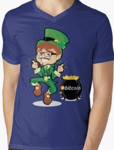Bitcoin Leprechaun Mens V-Neck T-Shirt
