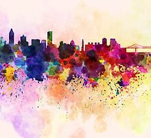 Montreal skyline in watercolor background by Pablo Romero