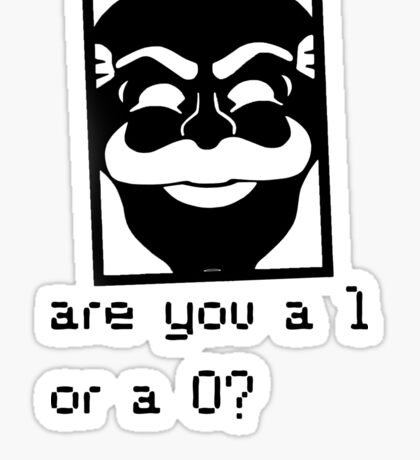 Are you a 1 or a 0? Mr. Robot - Fsociety (black) Sticker