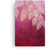 Magenta Garden - watercolor & ink leaves Canvas Print