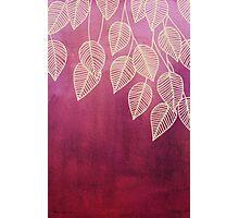 Magenta Garden - watercolor & ink leaves Photographic Print