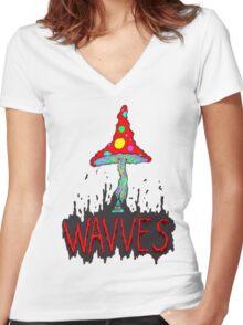 MushrOom Wavves Women's Fitted V-Neck T-Shirt
