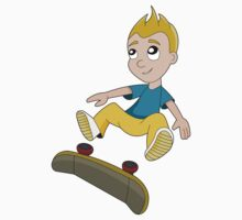 Skateboarder boy cartoon Kids Tee