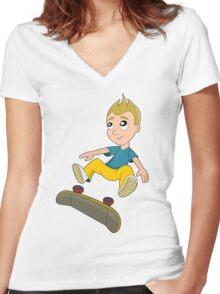 Skateboarder boy cartoon Women's Fitted V-Neck T-Shirt