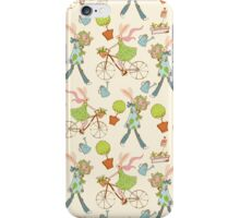 Pattern with spring rabbit on the bicycle and water can iPhone Case/Skin