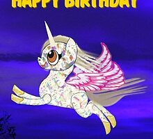 A Baby Unicorn Happy Birthday Card by Dennis Melling