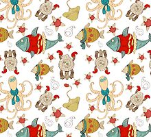 Pattern with sea animals and fish in hipster style by Maryna  Rudzko