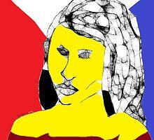 Female Head: Yellow angel -(160214)- Digital artwork/MS Paint by paulramnora
