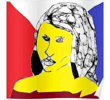 Female Head: Yellow angel -(160214)- Digital artwork/MS Paint Poster