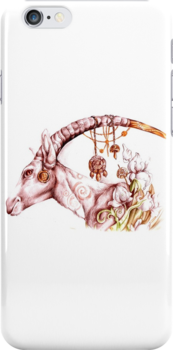 Decorative antelope on a white background ia a colored pencil style by Maryna  Rudzko