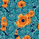 Seamless pattern with blue roses and coins  by Maryna  Rudzko