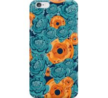Seamless pattern with blue roses and coins  iPhone Case/Skin