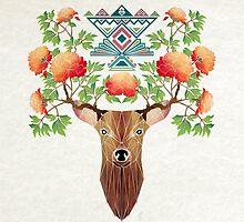 deer flowers by Manoou