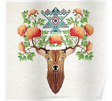 deer flowers Poster