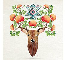 deer flowers Photographic Print