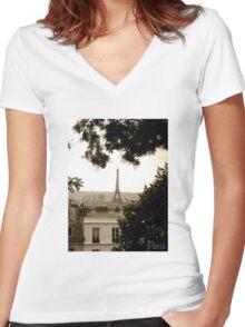 Paris Effiel Tower Women's Fitted V-Neck T-Shirt