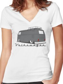 Volkswagen Bus-Light Women's Fitted V-Neck T-Shirt