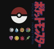 Pokeball and Badges Kanto version with Logo by ChronoStar