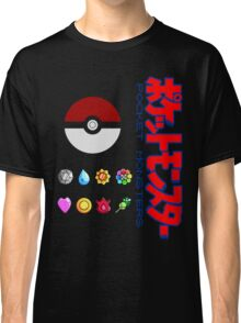 Pokeball and Badges Kanto version with Logo Classic T-Shirt
