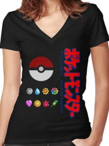 Pokeball and Badges Kanto version with Logo Women's Fitted V-Neck T-Shirt