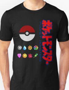 Pokeball and Badges Kanto version with Logo T-Shirt