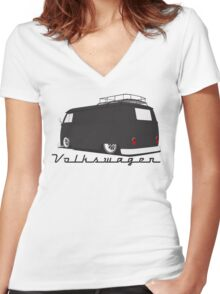 Volkswagen Bus-Dark Women's Fitted V-Neck T-Shirt