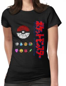 Cracked Pokeball and Badges Kanto version with Logo Womens Fitted T-Shirt