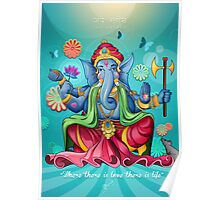 Ganesh Ji - Blue Edition Poster