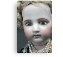 Vintage Collectable Doll with Pearl Necklace Photograph  Canvas Print