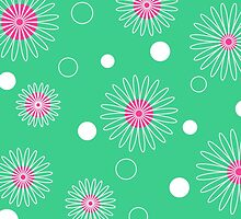 White pink floral pattern on green by cycreation