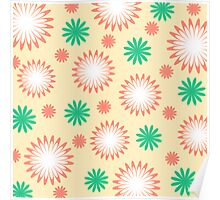 White orange green floral on yellow Poster