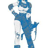 bulma blue with gun by briannajade