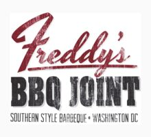 Awesome Distressed 'Freddy's BBQ Joint (Washington, DC)' T-Shirt by Albany Retro